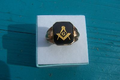 10K Solid Yellow Gold Masonic Ring Black Onyx  Sz 9