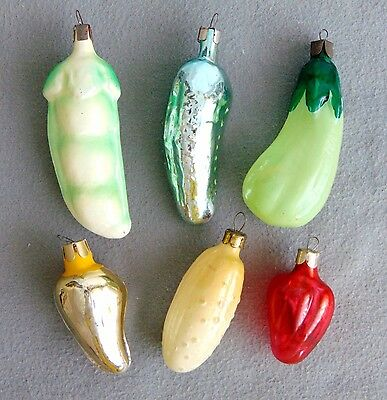 6 Vintage Glass Christmas Tree Large Ornaments Veges 1950s