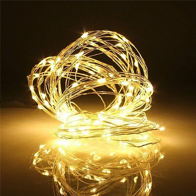 Warm White Battery Powered 100 LEDs Copper Wire Xmas Party String Fairy Light
