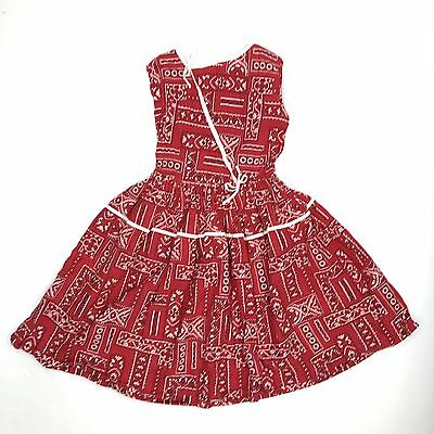 VTG 1950's Girls Dress Red Cotton Bandana Novelty Print July 4 Sz 7 8 9