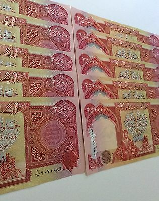 Iraqi Dinar Uncirculated Nice And Crisp 10X 25000 = 250,000 Dinar