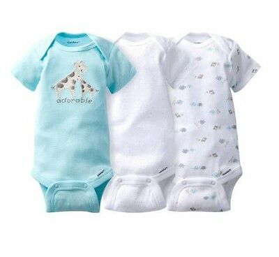 Gerber Boy or Girl Unisex 3-Piece Giraffe Onesies Size 0-3M BABY CLOTHES GIFT