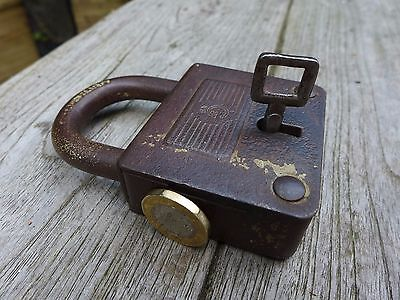 Antique / Vintage Padlock with one key, working order, hobby, collector, mark.
