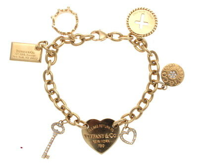 Authentic Tiffany & Co 18k Yellow Gold 7 Charm Bracelet
