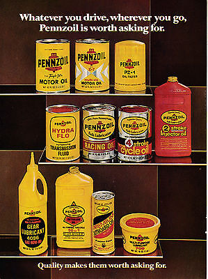 1976 Pennzoil Oil -11 Products Pictured Oils-Lubricants-Original Magazine Ad