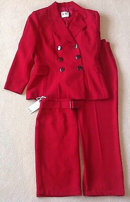 WALLIS VINTAGE 1970's THREE PIECE SUIT SIZE 12 RED TROUSER JACKET & NEW SKIRT