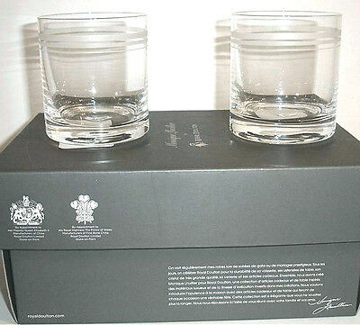 Monique Lhuillier by Royal Doulton 2 RUBAN Double Old Fashioned Tumblers New