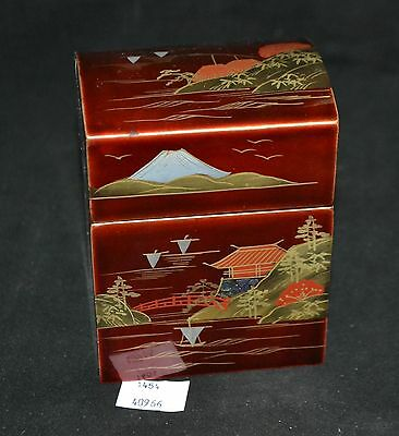ThriftCHI ~ Asian Decorated Lacquered Card Box w Hand Painted Scene