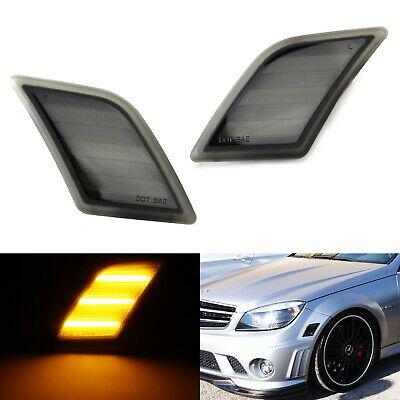 Euro Smoked Lens Amber LED Side Marker Lights For 08-11 Mercedes W204 C250 C300