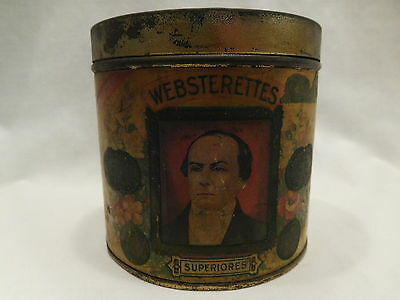 Antique Vtg Tin Advertising Websterettes Superiores Cigar Wood Lined Can