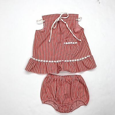 VTG CARTERS Coral Red Stars & Stripes July 4th Summer Top & Bloomers Set Sz 3T
