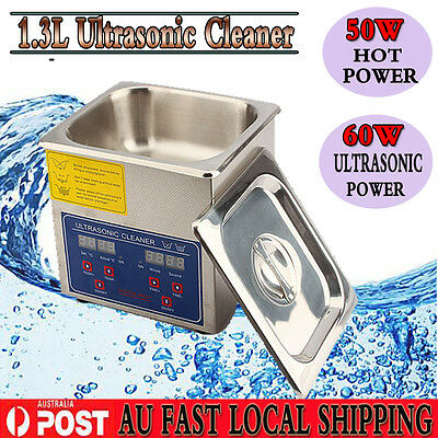 1.3L Ultrasonic Cleaner Stainless Steel Heater Timer Industrial Grade Cover CHIC