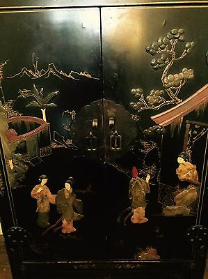 Vintage Black Lacquer Chinoiserie Two Shelf Cabinet