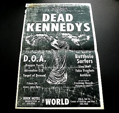 Dead Kennedys -Original Poster 1985 NYC The World - Butthole Surfers D.O.A. Punk