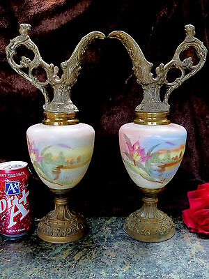 FAB RARE PAIR Antique Victorian HAND PAINTED Ewer Vase ORNATE Brass & Metal!