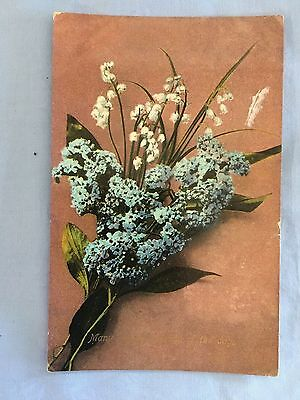"Postcard Flowers with ""Many Hapopy Returns of the Day"" Victoria 1d stamp 1912"