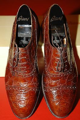 Brioni men's crocodile shoes, rust collor, indicated as US 10 1/2