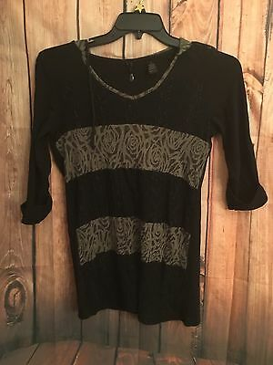 BKE Boutique Woman's Black And Gray 3/4 Sleeve Blouse - S (Lot A-5)