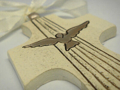 Poly Hanging Cross with Holy Confirmation Dove design for Christening & Baptism