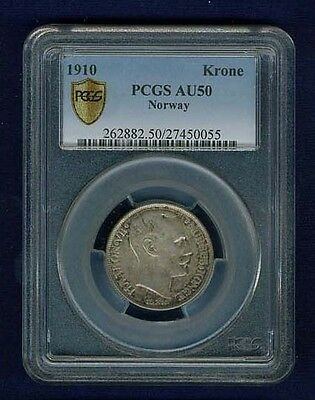 Norway Haakon Vii 1910 Krone Silver Coin Almost Uncirculated Certified Pcgs Au50