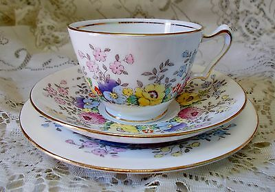 Vintage Crown Staffordshire Floral Trio Cup Saucer Plate F15465 Made In England