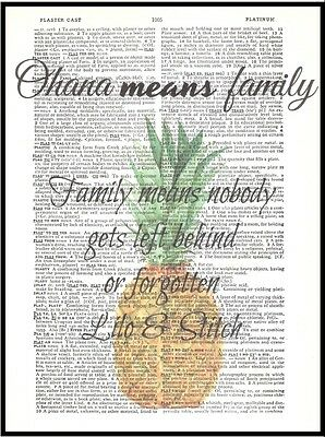 OHANA Means FAMILY PINEAPPLE Altered Art Print Upcycled Vintage Dictionary Page