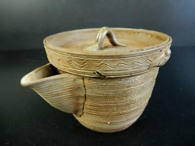 H1160:Japanese Old Bizen-ware Ring line sculpture TEA POT Houhin Kyusu Sencha