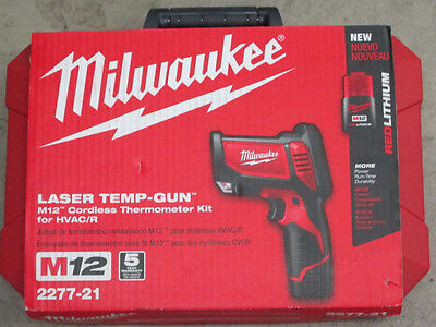 Milwaukee 2277-21 M12 12 Volt Cordless Laser Temp-Gun Thermometer Kit Hvac/r
