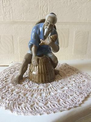 Vintage Chinese Shiwan Mud Man Figure Catch of the Day