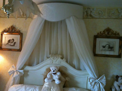Fabulous Large Bed Canopy/corona  Cream Or White  Inc Voile & Bowties