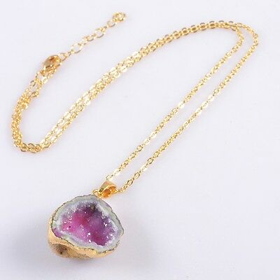 """18"""" Uneven Hot Pink Agate Druzy Geode Cave Necklace Gold Plated B040921"""