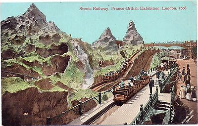 Postcard Scenic Railway Franco British Exhibition London 1908 Official Postcard