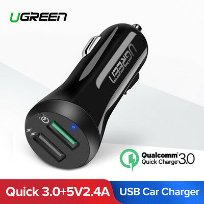 Ugreen Quick Charge 3.0 USB Chargeur Voiture 2 Ports 30W Cigare pour iPhone 7 LG