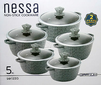 Grey 5pc GRANITE Non Stick Die-Cast Casserole Pan Pot Set INDUCTION Cookware