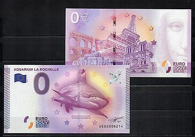 FRANCE billet 0 commémo euro-souvenir Aquarium LA ROCHELLE 2015 le requin