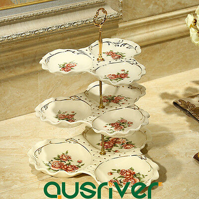 3-tier Luxury Pottery Cupcake Stand Snack Platter Holder Wedding Party