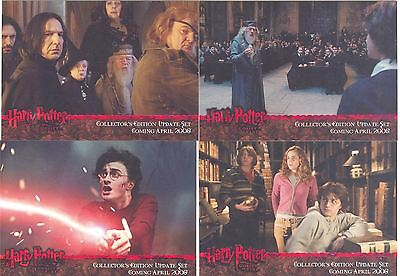 Harry Potter Goblet Of Fire Update 4 Card Red Stamped Promo Set - 3 Binder Inc.