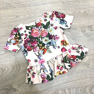 Ted Baker Girls Pink Floral Short Sleeve Peplum Pretty Blouse Top 5 6 Years