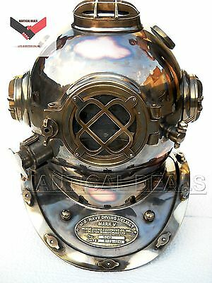 Special U.s Navy Model Solid Copper & Brass Fitting Diving Helmet Size 18 Gift