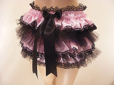 Adult Baby Sissy Pink/blk Satin Frilly Diaper Cover Panties Op W/proof / Locking