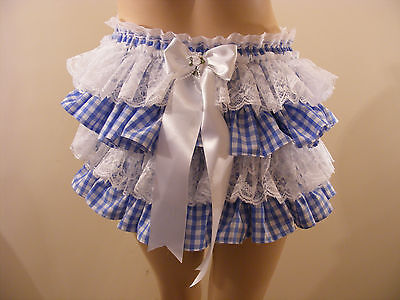 3e389256c Adult Baby Sissy Blue Gingham Frilly Diaper Cover Panties W/Proof/Locking  Abdl