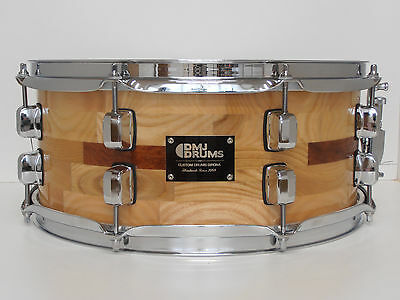 "Snare Segment Shell 14"" x 6.5"" Ash and Chestnut/Bubinga DMJ Drums"
