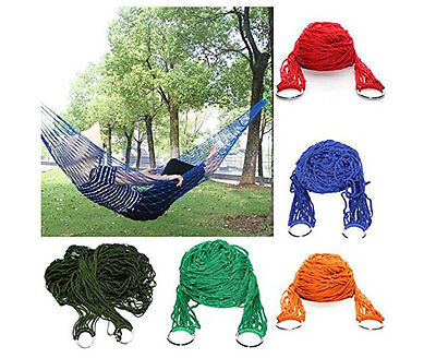 Nylon Portable Mesh Hammock Hanging Sleeping Bed Swing Outdoor Travel Camping