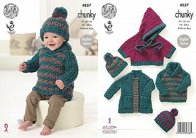 King Cole Childrens Chunky Knitting Pattern 4557:Coat,Poncho,Hat & Sweater