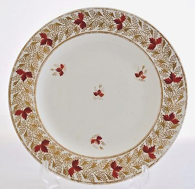 """Derby Porcelain Works (Early Royal Crown Derby) 10"""" Plate Gilt & Red C.1800-1825"""