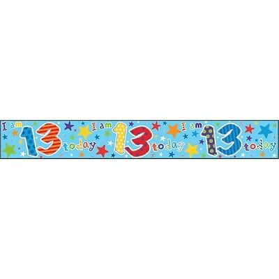 Banner Happy Birthday Age 13 - Foil 13th Boy Banners Party Omg Ur Thirteenth