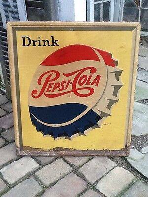 "Large Vintage 1950's Pepsi Cola Soda Pop Bottle Cap 30"""" Embossed Metal Sign"