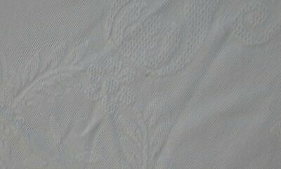 antique  embossed heavy white cotton  vintage bed cover tablecloth shabby french