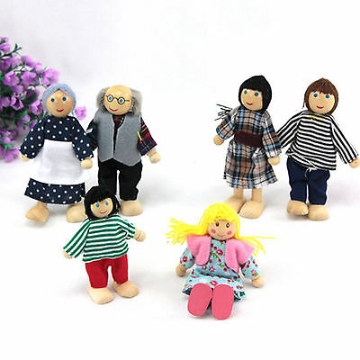 Cute 6 Dolls Wooden Furniture Set Doll House Family People Kid Toys Random