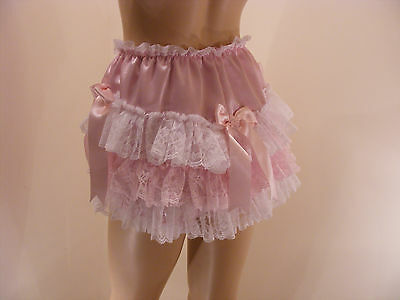 Adult Baby Sissy Pink Satin Lace Ruffle Diaper Cover Panties W/proof Locking